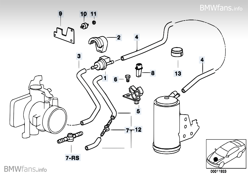 Fuel Tank Breath Valvedisturb Air Valve Bmw 3 E36 318is M42