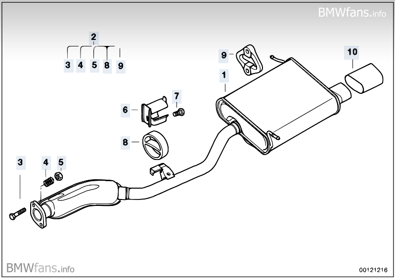 exhaust system rear bmw z3 e36 z3 1 9 m44 europe. Black Bedroom Furniture Sets. Home Design Ideas