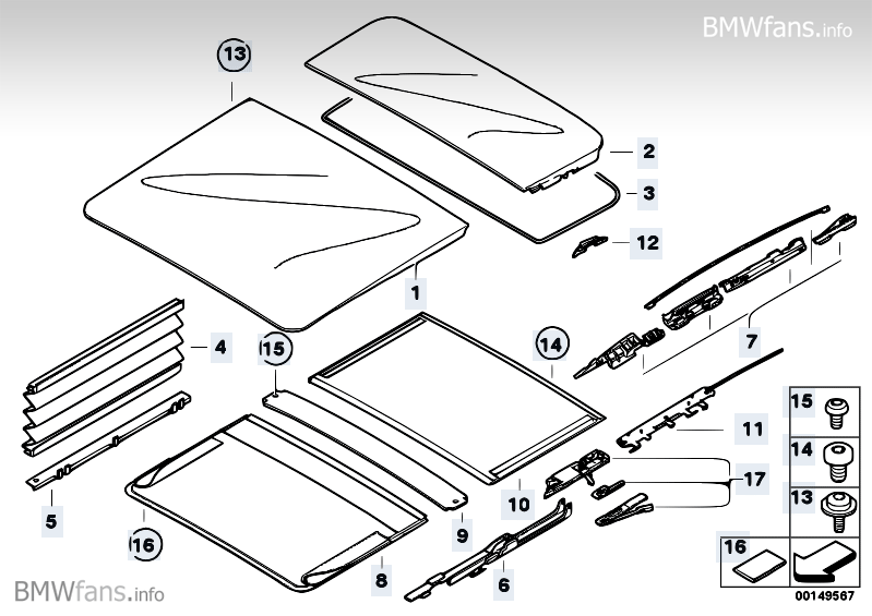 Panorama Sunroof Mechanism Bmw 5 E61 530d M57n2 Bmw
