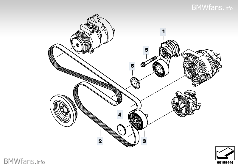 Belt Drive Ac  Power Steering Bmw 5 U0026 39  E60  523i