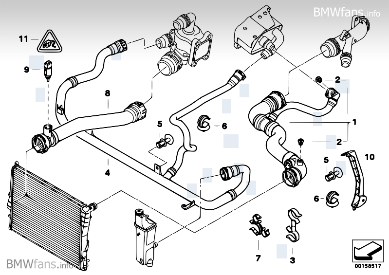BMW Parts Catalog >> Cooling System Water Hoses Bmw 3 E46 330ci M54 Bmw