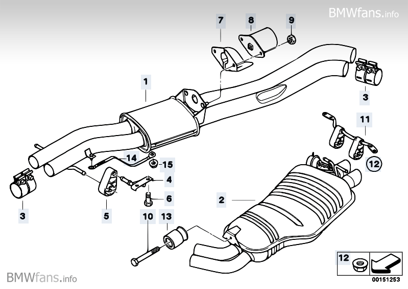 Exhaust System Rear Bmw X3 E83 X3 3 0i M54 Bmw Parts