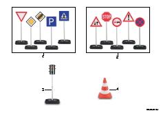 Road-sign set, traffic lights, pylon