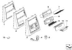 Mounting parts, centre console, rear