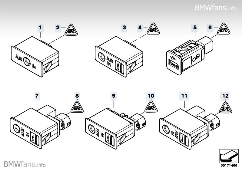 usb aux in socket bmw 3 39 e90 320i n46 bmw parts catalog. Black Bedroom Furniture Sets. Home Design Ideas