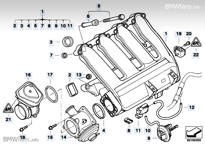Intake Manifold Agr With Flap Control Bmw 3 E90 320d M47n2 Bmw Parts Catalog