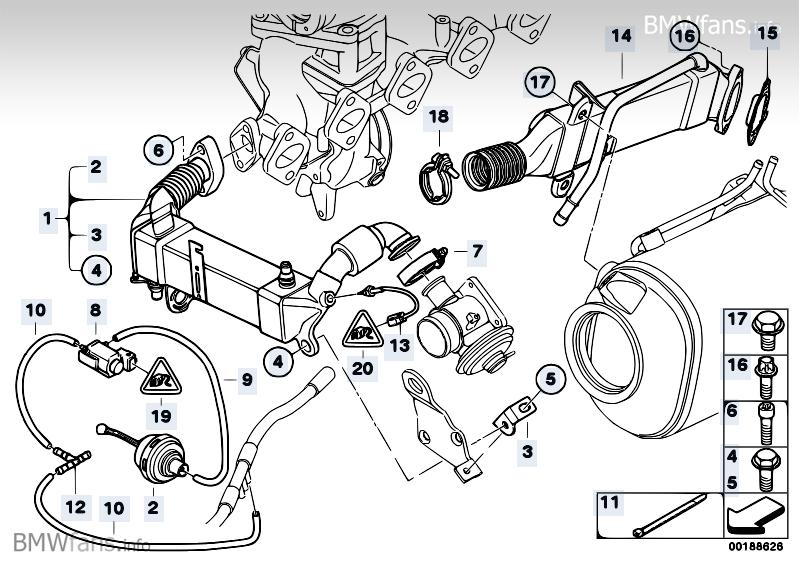 Emission reduction cooling BMW X5 E70, X5 3.5d (M57N2) — BMW parts catalogBMW parts catalog - BMWfans.info