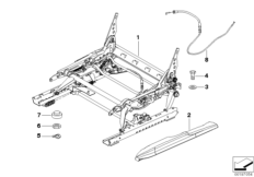 Sports seat, seat rail, mechanical
