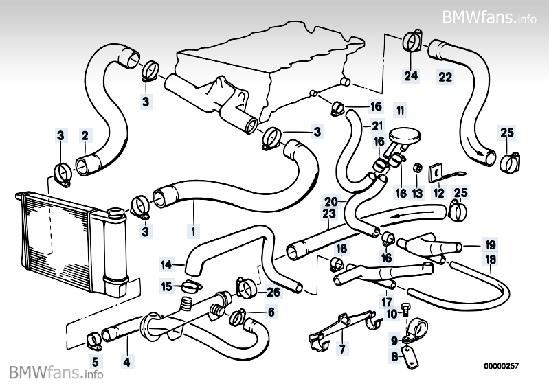 bmw m42 engine diagram cooling system water hoses bmw 3' e30, 318is (m42) — bmw ... 2007 bmw 328i engine diagram #8