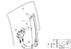 El.rear door window lifting mechanism