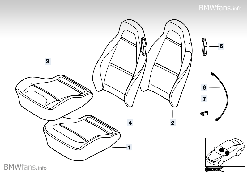 Bmw Sports Seat Cover Bmw Z3 E36 Z3 2 8 M52 Bmw Parts Catalog