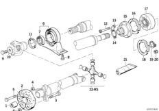 Drive shaft, univ.joint/centre mounting