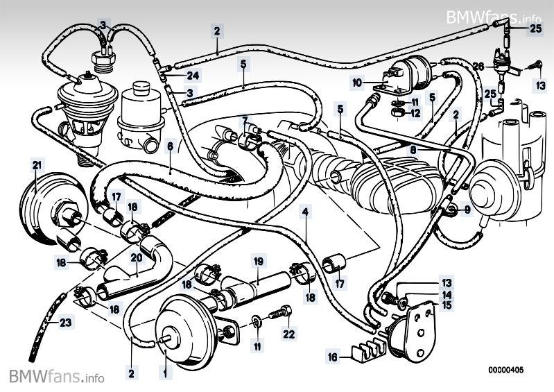 Emission control BMW 3' E21, 320i (M10) — BMW parts catalog