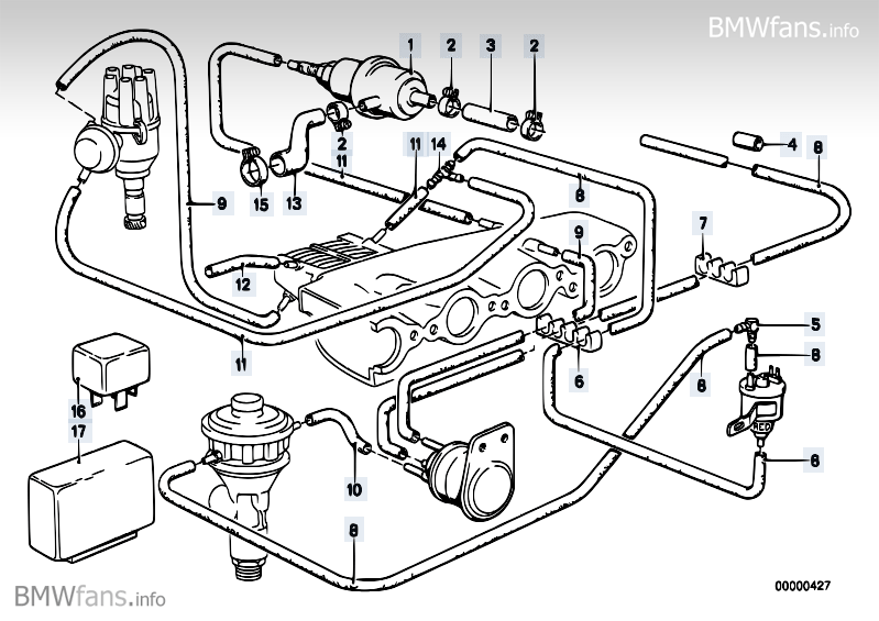 vacuum control agr bmw 5 e12 528i m30 bmw parts catalog description
