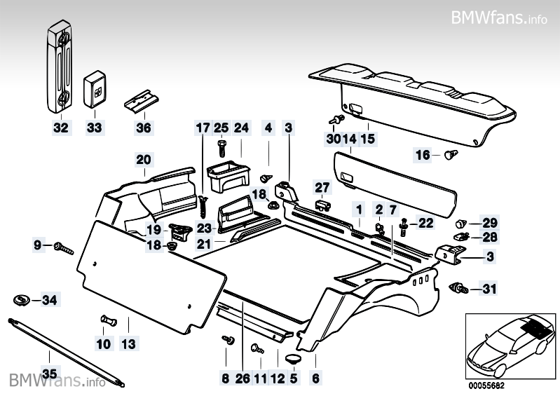 Trunk Trim Panel Bmw 3 E36 318is M42 Bmw Parts Catalog