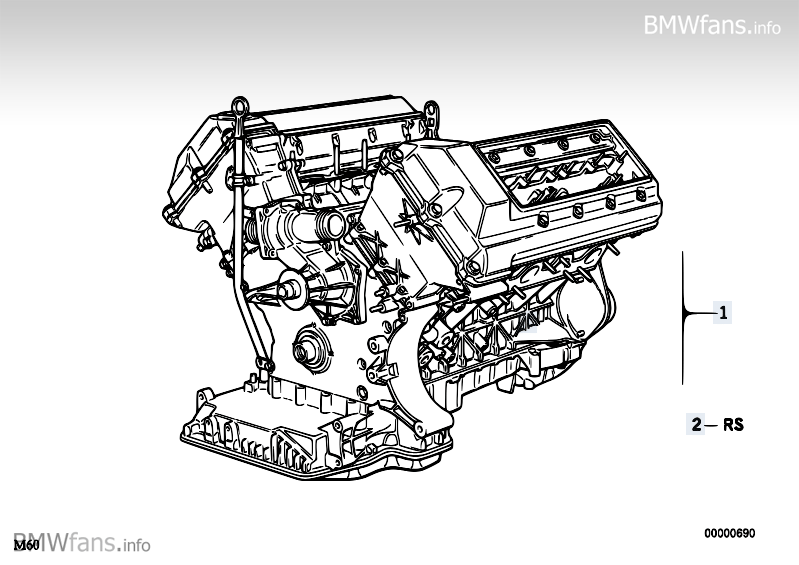 Short Engine BMW 5' E34, 540i (M60) — BMW parts catalog | Bmw M60 Engine Diagram |  | BMW fans! - BMWfans.info