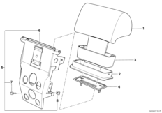 Mechanical headrest rear