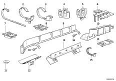Various cable clamps