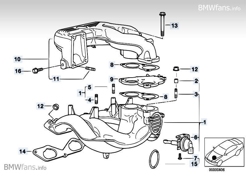 intake manifold system bmw 3' e36, 318is (m42) — bmw parts ... bmw m42 engine diagram #14