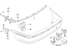 Rear bumper mounting parts
